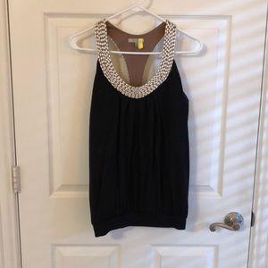 Boutique pearl collar black halter